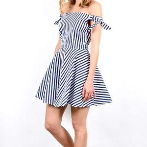 Molly Bracken Off Shoulder Striped A-line Dress